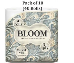 Bloom White Toilet Rolls 3Ply Luxury Paper Strong Quilt Bathroom Tissue Soft