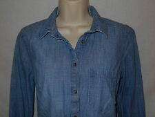 Blouse Merona Denim Chambray SMALL 8 Womens Pullover Shirt Blue Top 6m66