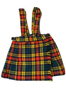 Vintage Elka Novitas Plaid Wool Blend Pleated Kilt Skirt Toddler Girls Sz 4