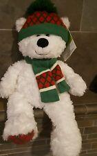 "HugFun St Judes 20"" White Teddy Bear Plush Red & Green Scarf Hat Christmas Stuff"
