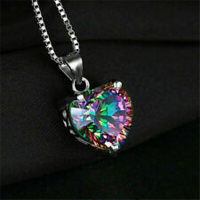 925 Silver Mystic Topaz Heart Crystal Angel Wing Pendant Necklace Chain Jewelry