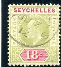 Seychelles 1906 KEVII 18c pale sage-green & carmine VFU. SG 65 var. CW E22.