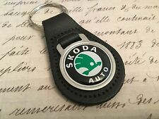 SKODA Quality Black Real Leather Keyring