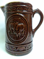 "Brown 8"" Cow Motif Stoneware Salt Glaze Jug Pitcher Rare Antique Primitive Milk"