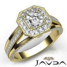 Asscher Diamond Engagement Halo Milgrain Ring GIA F VVS2 18k Yellow Gold 1.61Ct