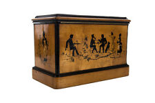 19th c. Antique English wooden Box w/beautiful Silhouette figures inlaid