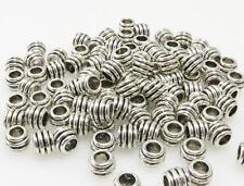 100x Metallperlen 6x8mm Spacer Großlochperlen altsilber Metall Perlen neu -7050