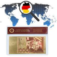 WR 1000 Deutsche Mark Gold Banknote 24 Karat .999 Geldschein Farbexstrakte + COA
