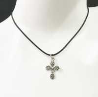 Cross Necklace Black Rope Chain & Pendant Womens Mens Jewellery