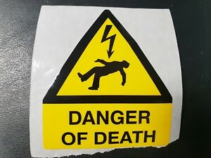 10 x 'Danger of Death' Electrical Safety Labels, free post!