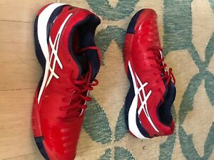 Asics Gel Resolution 7 Tennis Shoes E701Y Red/Navy/White Mens 11