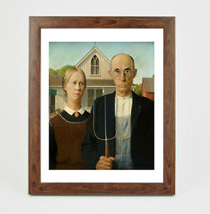 Framed print - Wood - American Gothic fine art giclee print in polcore frame