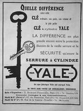 PUBLICITÉ DE PRESSE 1921 CLÉ A CYLINDRE YALE SERRURE A CYLINDRE