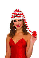 Candy Cane Striped Beanie Hat Santa's Helper Christmas Hat Adult Size