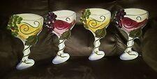 set of 4 Clay Art Wine Glass cheese plates serving deep dish plate bin 23