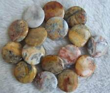 25mm Natural Crazy Lace Agate Coin DIY Loose Beads Stone 15.5""