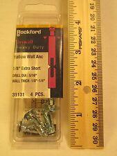 """ROCKFORD Drywall Hollow Wall Anchor SHORT 1/8"""" Drill Dia: 5/16"""" Wall 1/8""""-1/4"""""""
