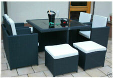 RATTAN GARDEN FURNITURE CUBE SET CHAIRS TABLE OUTDOOR PATIO RATTAN BLACK / BROWN