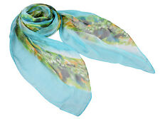 "Women's Very Sheer 100% Chiffon Silk Scarf / Blue / Abstract / 70"" X 40"""