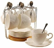 Porcelain Tea Cup and Saucer Coffee Cup Set with Saucer and Spoon 20 pc s6