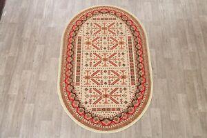 Geometric Traditional Kazak Turkish Oriental Area Rug Foyer Carpet 5x7 Oval