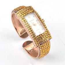 Ladies Rose GP Gemstone Crystal Cuff Porcelain Chic Watch Bangle Bracelet IS289H