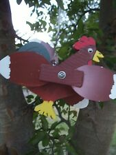 Red Rooster Mini Whirligigs Whirligig Windmill Yard Art Hand made from wood