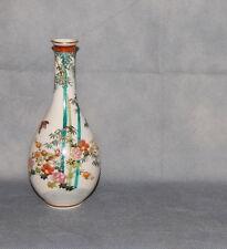 Japanese Satsuma Pottery Crackle Glaze Vase Bamboo Flowers Birds Gilt Signed