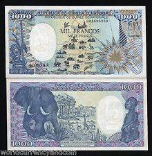 EQUATORIAL GUINEA 1000 FRANCS P21 1985 *ERROR MAP* ELEPHANT GIRAFFE AFRICA MONEY