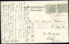 ICELAND 1910 5AUR PAIR ON POSTCARD TO U.S. HVALFJORDSTROND REVERSE