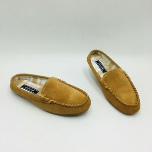 Lands' End Women's Flannel Lined Suede Clog Slippers - English Tan