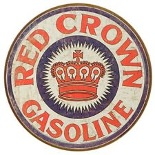 Vintage Art 'Red Crown Gas' Decorative Round Tin Sign Full Of American Nostalgia