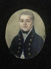 Early Miniature Painting Of A Ship Captain In Leather Case