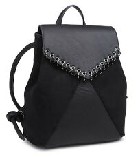 Reduced!  New  Trendy Black BackPack In soft Faux Leather with Ring Detailing