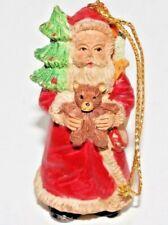 Vintage Old World Santa Claus Figure Ceramic Christmas Hanging Ornament