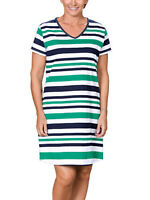 Brand New Green Striped 100% Cotton Short Sleeve Dress Size 12/14 & 16/18 (B10)
