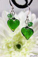 Glass Jewels Silber Ohrringe Perle Herz Grün Sommer Valentinstag Geschenk #L091