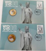 .2 x 2008 WORLD YOUTH DAY / THE POPE COLOURED UNC $1 FDC PNC.