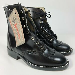 Laredo Girls Western Boots Black Roper Cowgirl Leather Kiltie USA Choose Sz