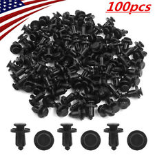100Pcs Black Plastic Rivet Car Fender Bumper Push Pin Clips 10mm Hole For Honda
