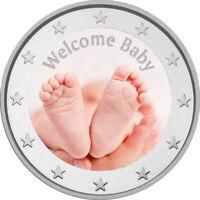 2 Euro Gedenkmünze Baby coloriert mit Farbe  /  Farbmünze / Kind / Geburt /