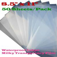 """USA 50 Sheets 8.5"""" x 11"""" Waterproof Inkjet Transparency Film for Screen Printing"""