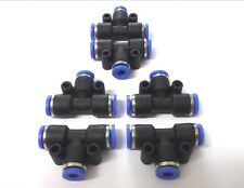 6 x 6mm T-Piece Push fit connectors. Pneumatic. Joiners. Plumbing *Top Quality!