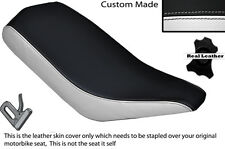 BLACK & WHITE CUSTOM FITS BASHAN 200 QUAD DUAL LEATHER SEAT COVER ONLY