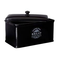 VINTAGE HOME KITCHEN LOAF BREAD BOX CERAMIC BISCUIT BIN STORAGE CONTAINER BLACK