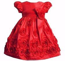 Christmas Dress GIRLS ROSETTE RED BONAZ TAFFETA DRESS FLOWER GIRL 2Y