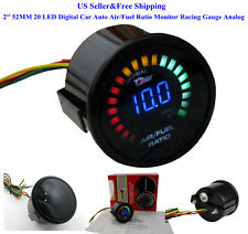US 2'' 52MM 20 LED Digital Car Auto Air/Fuel Ratio Monitor Racing Gauge Analog
