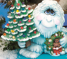Large Abominable Snowman  Light Up Tree Kit  *  Ceramic Bisque Ready to Paint