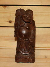 Vintage Asian hand carving wood Laughing Buddha Budai figurine