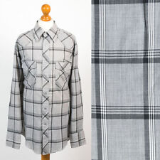 MENS VINTAGE WESTERN SNAP FASTEN COWBOY STYLE SHIRT GREY PLAID CHECK USA XS